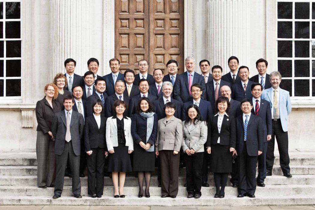 Corporate group photography outside Senate house, Cambridge