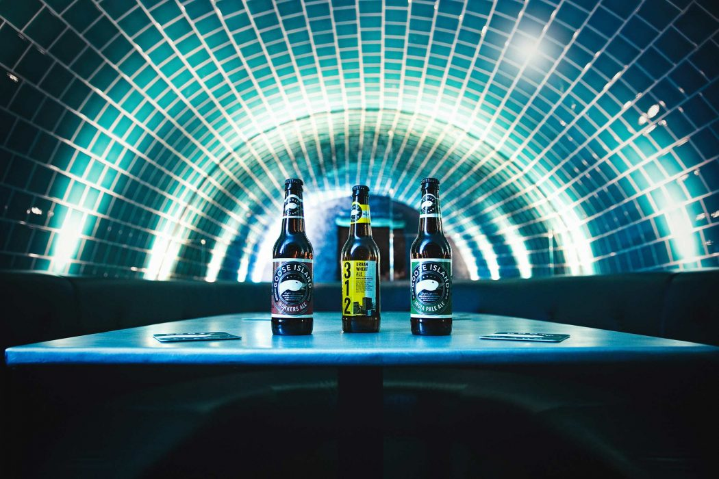 Location product photography of Goose Island bottles of beer in London, by StillVision Photography