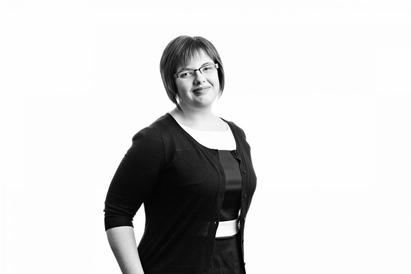 office-staff-portrait-woman-studio-black-and-white