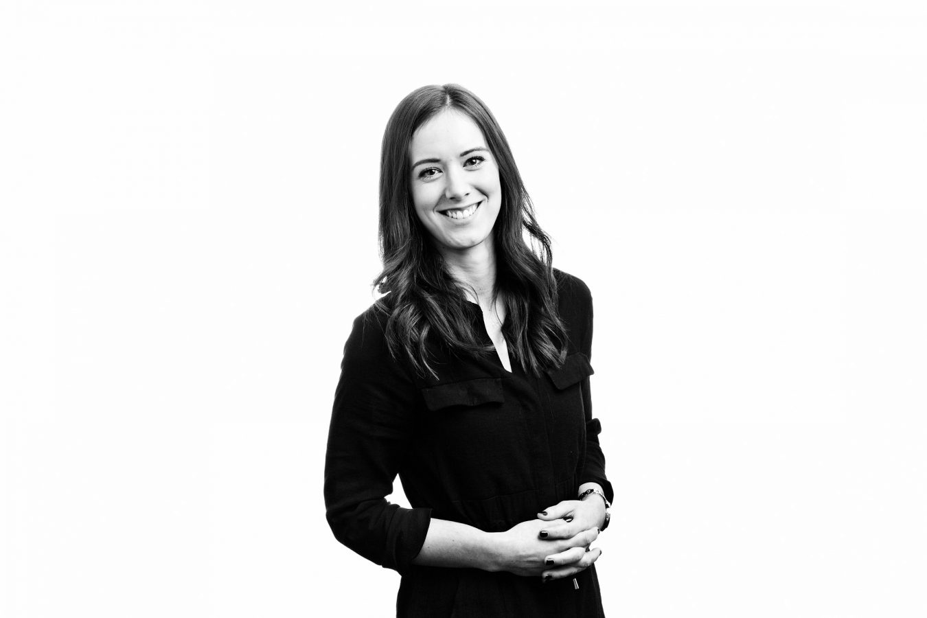 young-woman-office-staff-portrait-studio-black-and-white