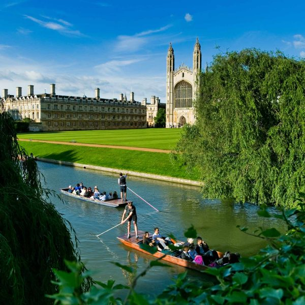 Summer on the river at Kings college, university of Cambridge.