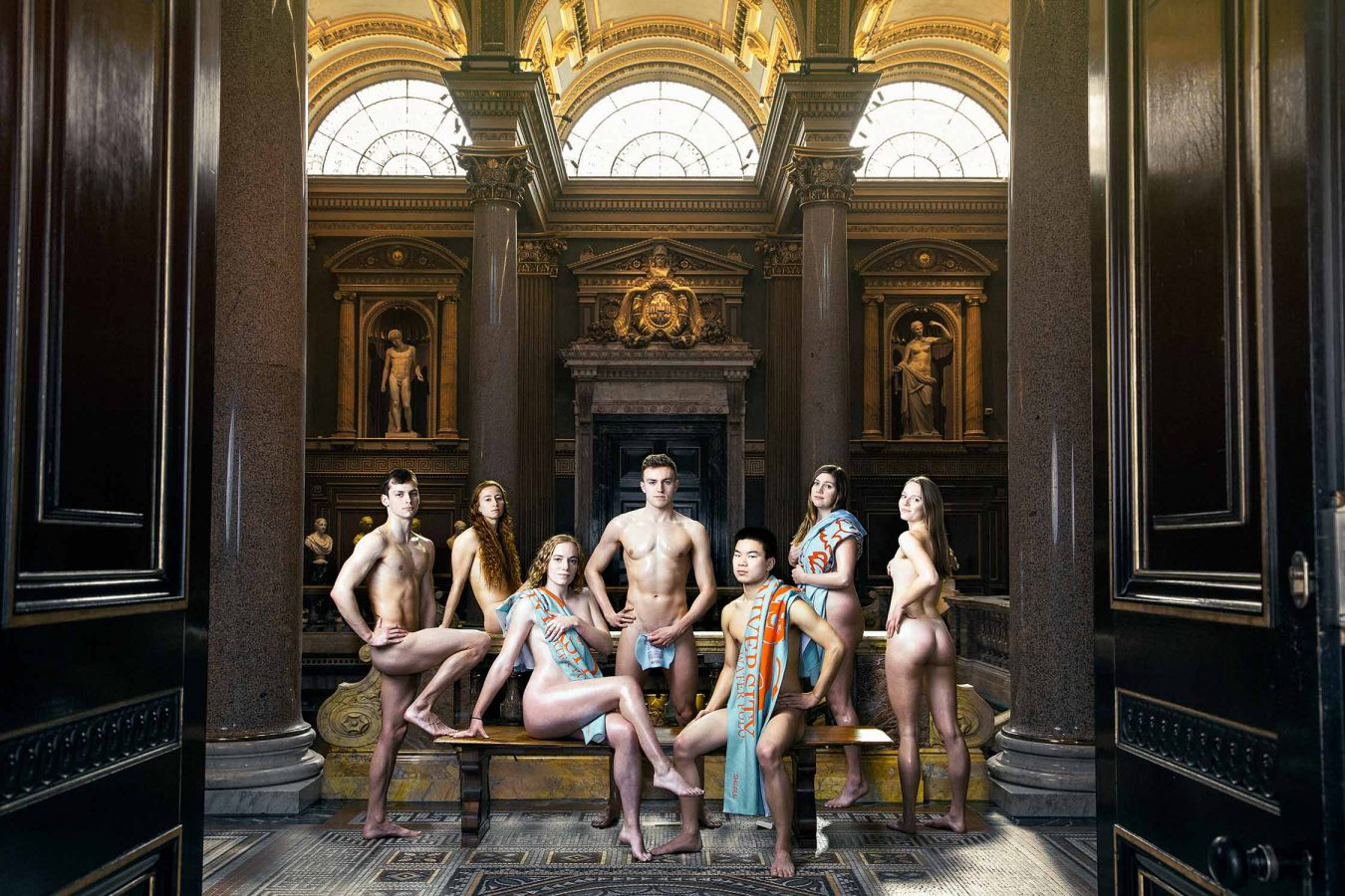 The University of Cambridge naked calendar 2021 Fitzwilliam museum swim team.